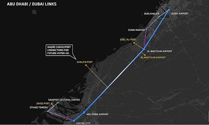 Abu-Dabi - Dubay Hyperloop yolu